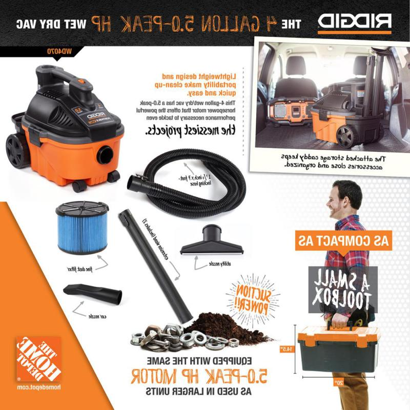 RIDGID 4Gal Wet Dry Cleaner Vac Car Cleaning